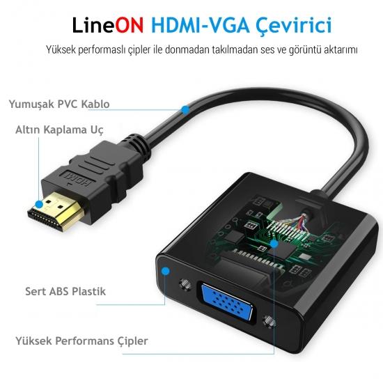 HDMI hdmi to Vga Çevirici Usb+Ses Kablolu