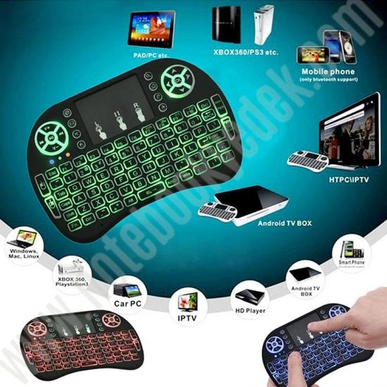 Şarjlı Bataryalı Kablosuz Mini Klavye Touch Pad (3 Renk Işıklı)